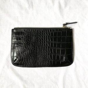 Faux Leather Crocodile Clutch Purse